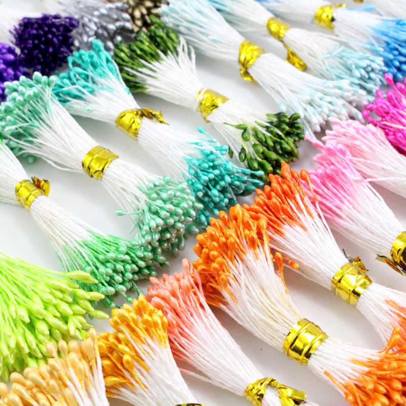 Lucia crafts 900 шт/партия случайные смешанные Двойные головки DIY искусственный мини жемчужный цветок тычинки с пестиком 1 мм цветочные тычинки D0402