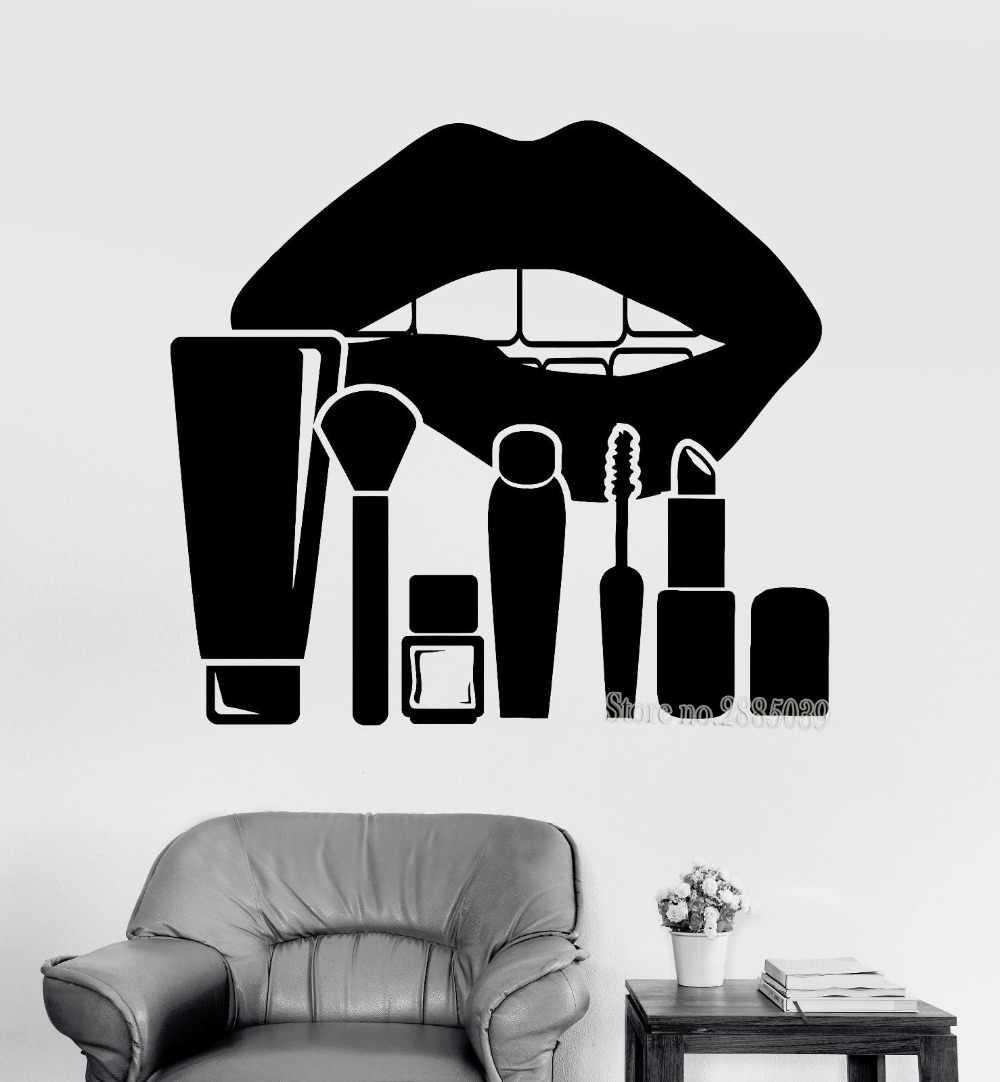 Новые поступления Книги по искусству стены Стикеры большой Средства ухода за губами и Макияж Косметика Красота салон Наклейки Для женщин Room Decor Обои плакат za936