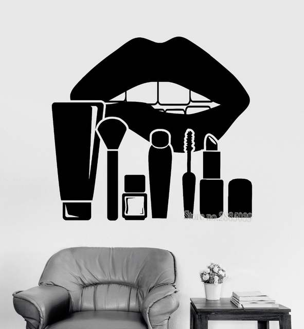 Online Shop New Arrivals Art Wall Sticker Large Lips And Makeup Cosmetics  Beauty Salon Stickers Women s Room Decor Wallpapers Poster ZA936  be1191ac5a