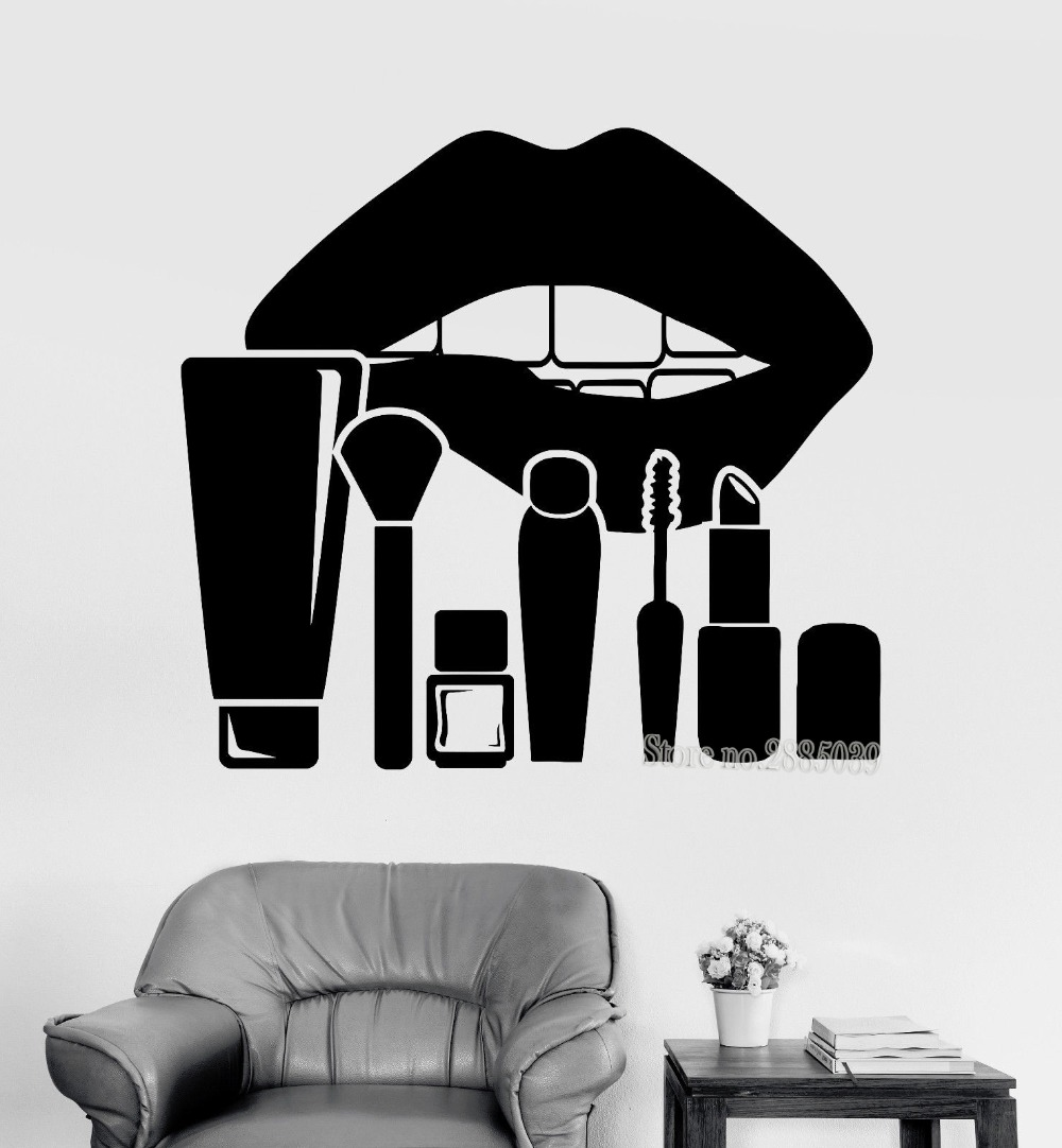 Eyes wall stickers wow modern beauty salon valentine wall decoration - New Arrivals Art Wall Sticker Large Lips And Makeup Cosmetics Beauty Salon Stickers Women S Room Decor