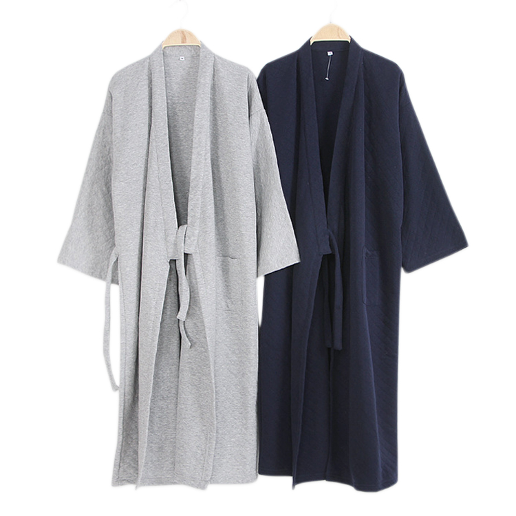 Winter Thicken 100% Cotton Kimono Male Pyjamas Sets Pure Color Long Sleeve Casual Pijama Bathrobe For Men Hombre Robes