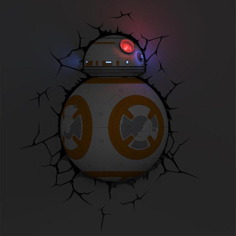 [Funny] Creative Star Wars BB-8 Robot figures model 3D Wall Lamp Unique LED light lamp Ornament Home room decorations gift стоимость