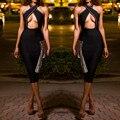 Verano Sexy Negro Vendaje de Las Mujeres Vestido Halter Backless Barato Celebrity Bodycon Del Vendaje Del vestido Vestidos Al Por Mayor de Las Mujeres de La Vendimia