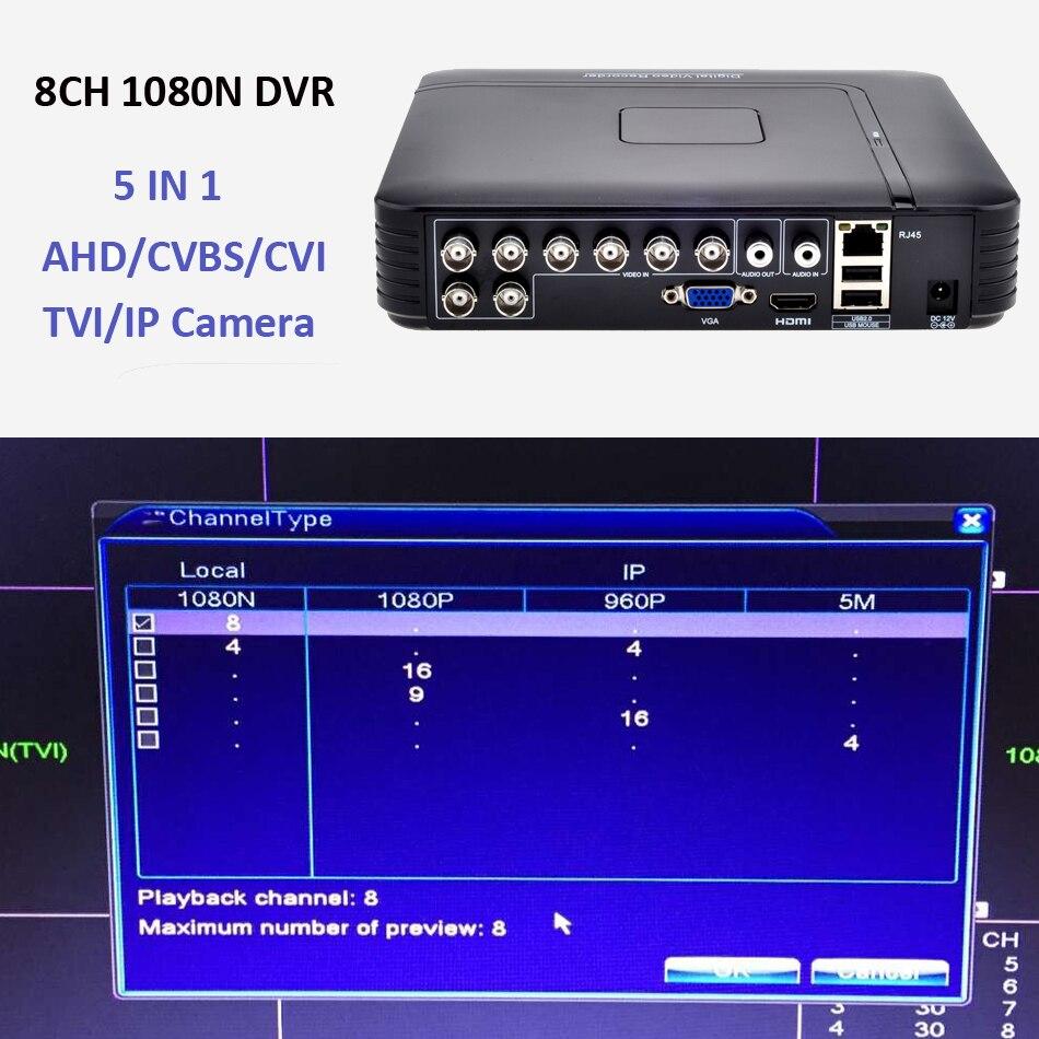AHD 1080N 4CH 8CH CCTV DVR Mini DVR 5IN1 For CCTV Kit VGA HDMI Security System Mini NVR For 1080P IP Camera Onvif DVR PTZ H.264 3