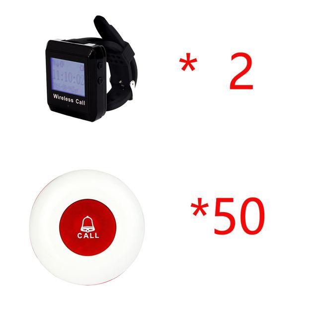 2 Restaurante Coaster Pager Sem Fio Sistema de Receptor de Pulso Host + 50 pc Botão de Espera Dos Visitantes Pager para Restaurante Café Bar F3258