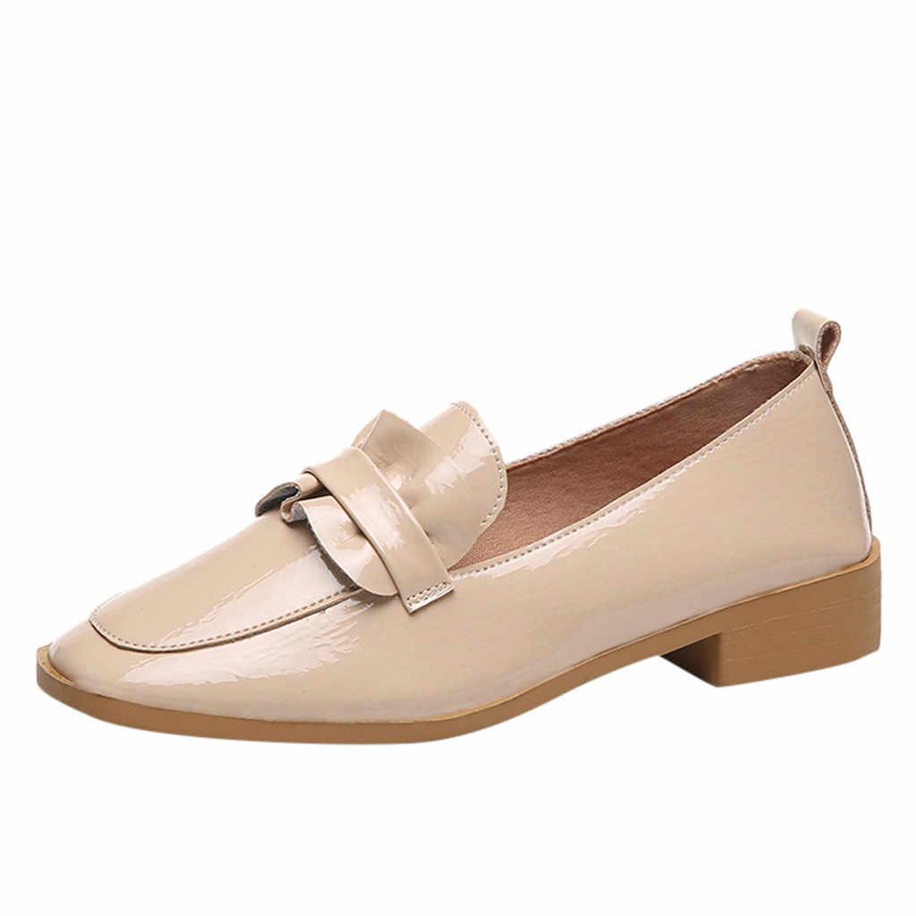 Hoge Kwaliteit Vrouwen Rubber Platte Platform Schoenen Lakleer Kwastje Slip-on Solid Brogue Loafers Merk *