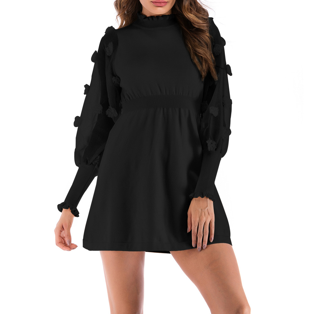 Women Sweater Knitted Dresses Mesh Stitching Party Dress A-Line Elastic Waist Slim Long Sleeve knitting Dresses Vestidos Robe