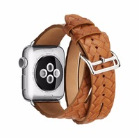 Genuine Leather Wrist Watch Double Tour Loop For Apple Watch 38 42mm Series 1 2 3