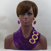 Amazing Purple Mix Golden Jewelry Set Errific Nigeria Beads Simple Design Best Item Handmade Free Shippinghx214