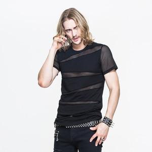 Image 2 - 悪魔ファッション新着パンクセクシーな中空アウト男 Tシャツゴシック黒半袖 O ネック Tシャツトップス 2020 春夏