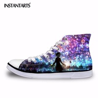 INSTANTARTS Classic Women Vulcanize Shoes Galaxy Star High Top Female Flats Canvas Shoes Spring Women S