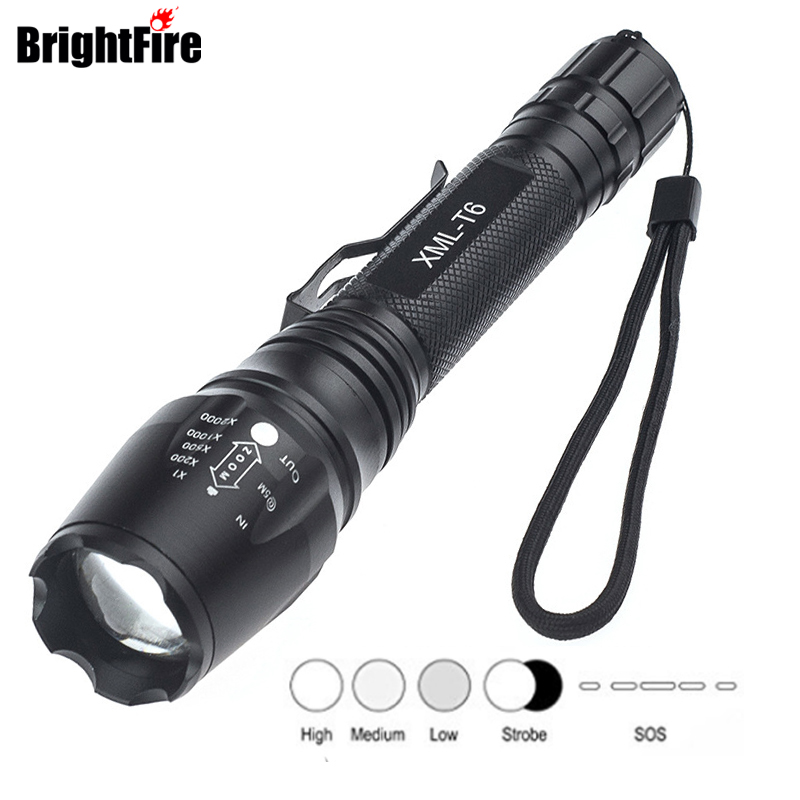 Super Bright Strong Light Zoom CREE XML T6 5 Modes LED Flashlight Waterproof 6000 Lumen Police