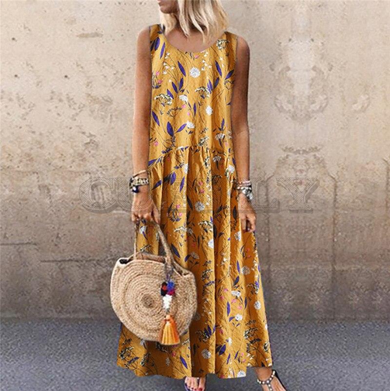 Summer Dress Women Plus Size Bohemian O-Neck Floral Print Vintage Sleeveless Long Maxi Casual Loose