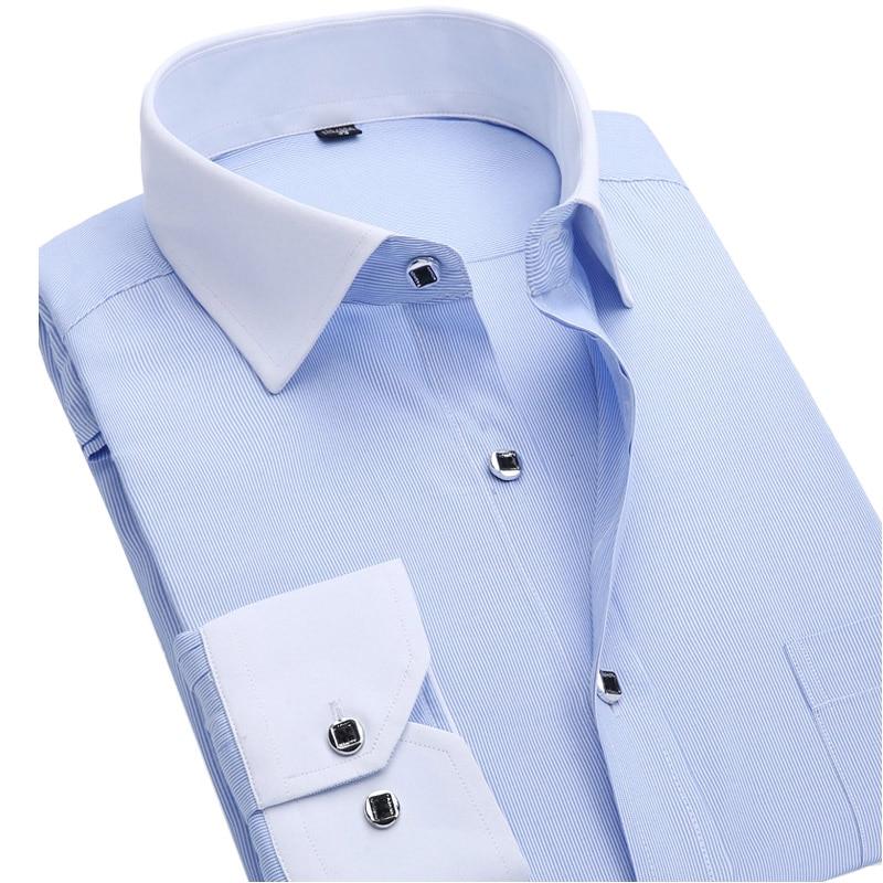 New 2016 Autumn Men Dress Shirt Fashion White Collar Twill