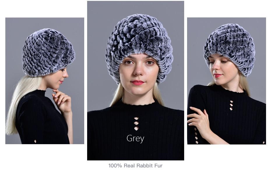 Raglaido Rabbit winter fur hat for Women Russian Real Fur Knitted Cap headgea Winter Warm Beanie Hats 2019 fashion brand LQ11279 24