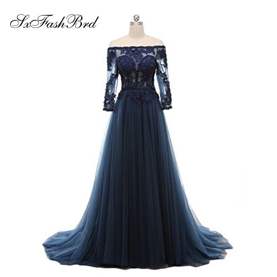 Robe De Festa Bateau Cou Avec Perles Manches Longues Une Ligne Tulle Longue Partie Élégante Robes De Soirée Bleu Marine Robe