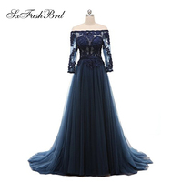 Vestido De Festa Boat Neck With Beading Long Sleeves A Line Tulle Long Party Elegant Evening Dresses Navy Blue Dress