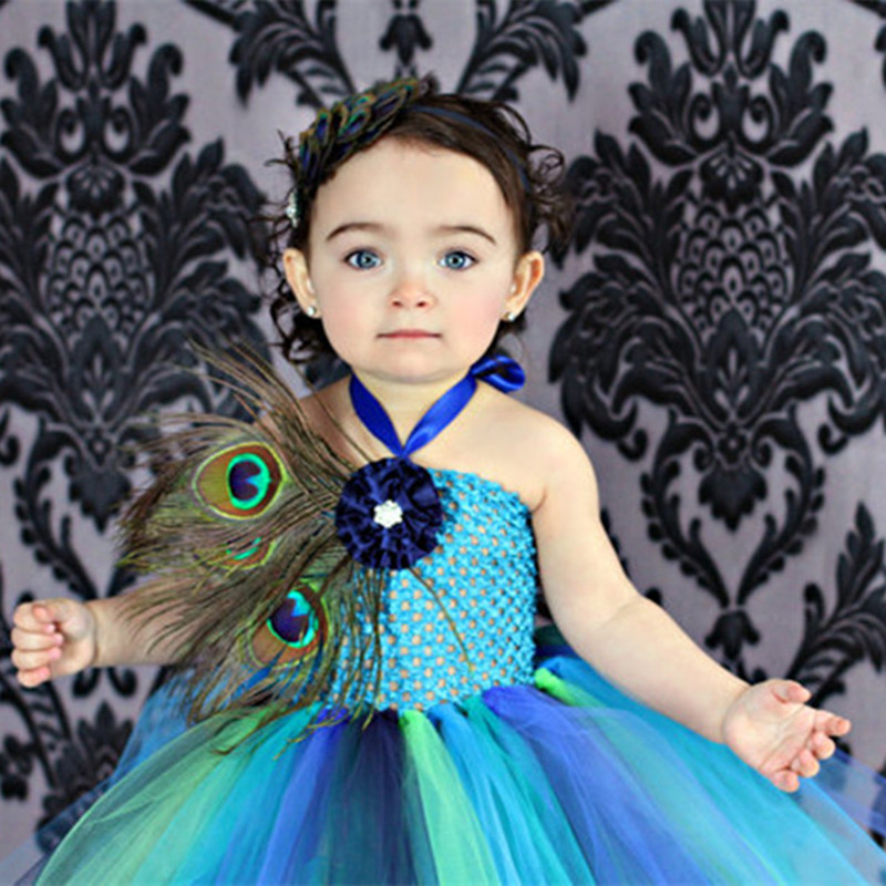 Toddler Baby Girl Pageants Feathers <font><b>Peacock</b></font> Girls Evening Dress <font><b>Pretty</b></font> Girls Tutu Dress For Birthday Party Photoprops <font><b>Costume</b></font>