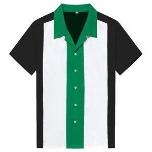 Image 4 - Charlie Harper koszula w paski w pionowe paski koszule dla mężczyzn 50s Rockabilly guzik do koszuli w dół bawełniane koszule z krótkim rękawem w stylu Vintage sukienka