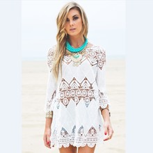 women summer beach wear crochet tunics dresses half sleeve   flower embroidery boho lace shirt hollow out cover ups