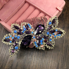 Luxury Bridal Hair Accessories Wedding Hair Comb Red Rhinestone Crystal Flower Leaf Hair Comb Bridesmaid Jewelry