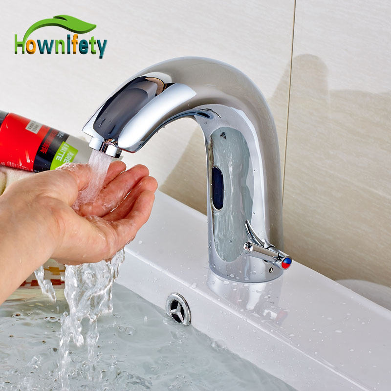 Wholesale And Retail Brass Chrome Finish Basin Sink Tap Automatic Sensor Faucet Single Lever Mixer Tap Hot And Cold Water high quality soild brass chrome finish basin sink faucet cold and hot water tap single handle single hole washbasin mixer