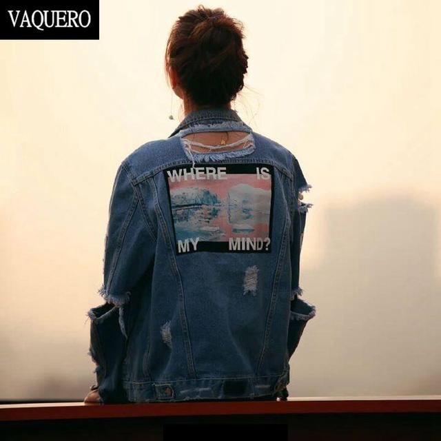 Ripped Denim Chaquetas Y Abrigos de Las Mujeres Harajuku Estilo Vintage Streetwear Bombardero Señoras Agujeros de Gran Tamaño Jeans Jeacket