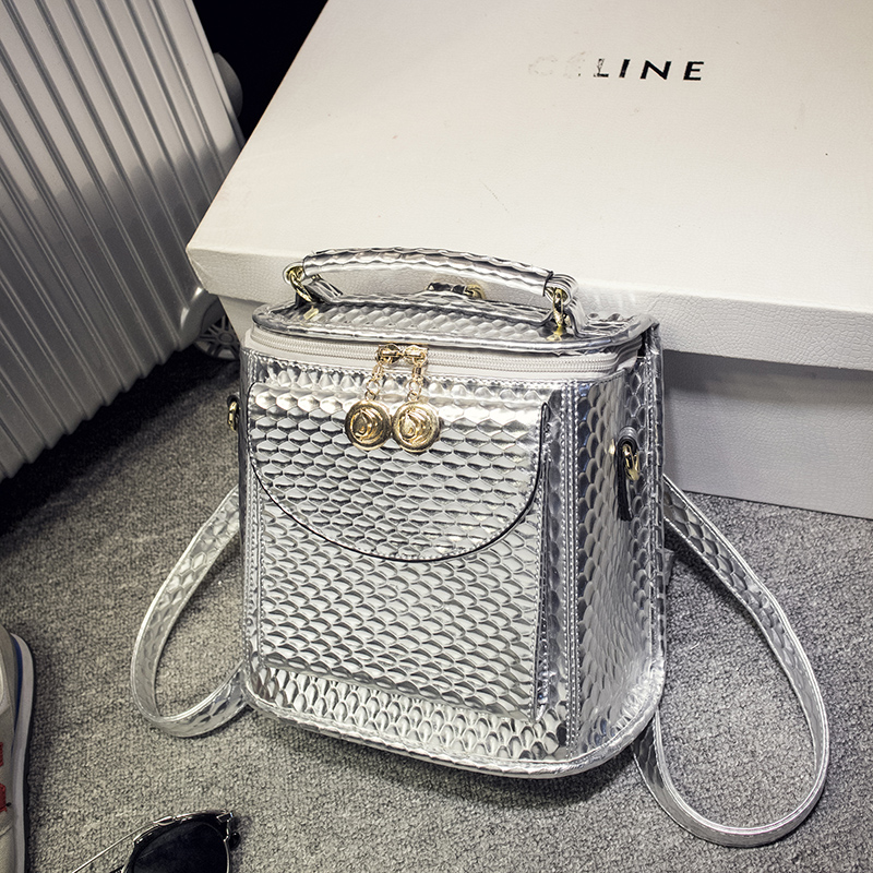 In the spring of 2017 new glossy Snake small backpack shoulder shoulders personality metallic color bag