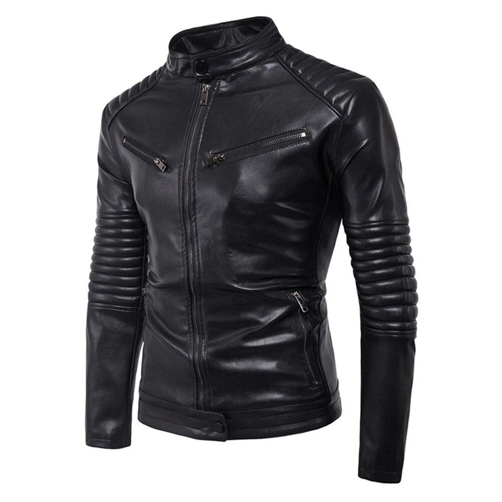 Новый классический мотоцикл кожаная куртка мужчины панк Байкер PU искусственной кожи Мото куртка Slim Fit пальто мотоцикл одежда