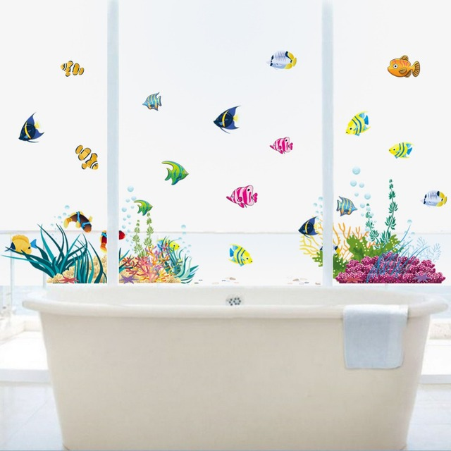 Underwater World Wall Sticker Home Decor Kids Room Bathroom Wall Decals  Colorful Coral Fish Glass Window
