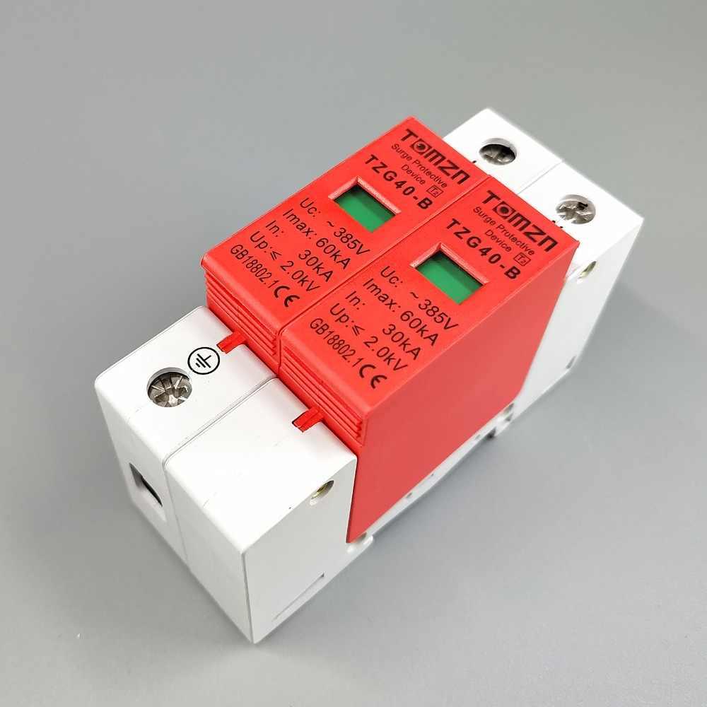 AC SPD 1P + N 30KA ~ 60KA D ~ 385V Protector contra sobretensiones doméstico dispositivo descargador de bajo voltaje
