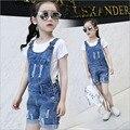 Meninas grandes Macacão Jeans Outono Moda Novo Estilo Crianças Roupas Casuais Crianças Da Menina Denim Jeans suspender calças Sólida