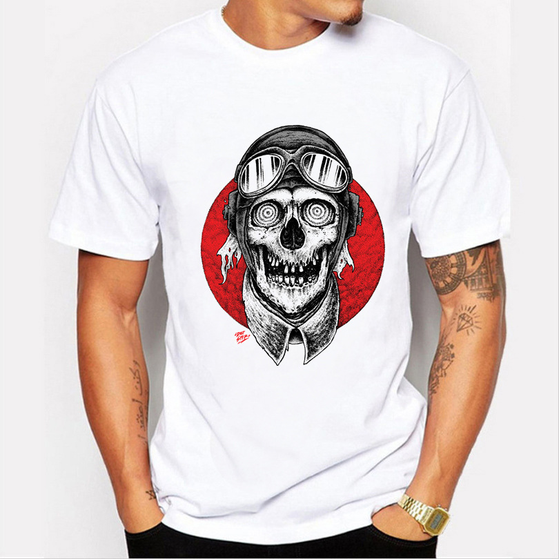 JCCHENFS 2018 Discount Sale Resident Evil Mens T-shirt Summer Fashion White Short Sleeve Skull T Shirt For Men Casual t shirt