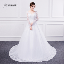 yiwumensa Long sleeves lace A line font b Wedding b font Dress 2017 Beads Applique font