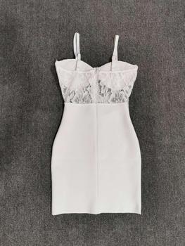 Free Shipping Summer Fashion Sexy V Neck Strap White Lace Bandage Dress 2020 Designer Elegant Evening Party Dress Vestido 3