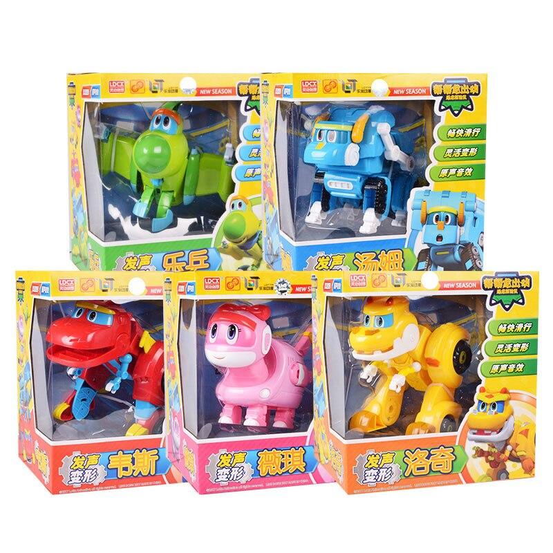 Oyuncaklar ve Hobi Ürünleri'ten Aksiyon ve Oyuncak Figürleri'de 5 adet/takım Büyük Gogo Dino ABS Deformasyon Araba/Uçak Ile Ses Aksiyon Figürleri REX/PING/TOMO Dönüşüm çocuklar için dinozor oyuncak'da  Grup 1