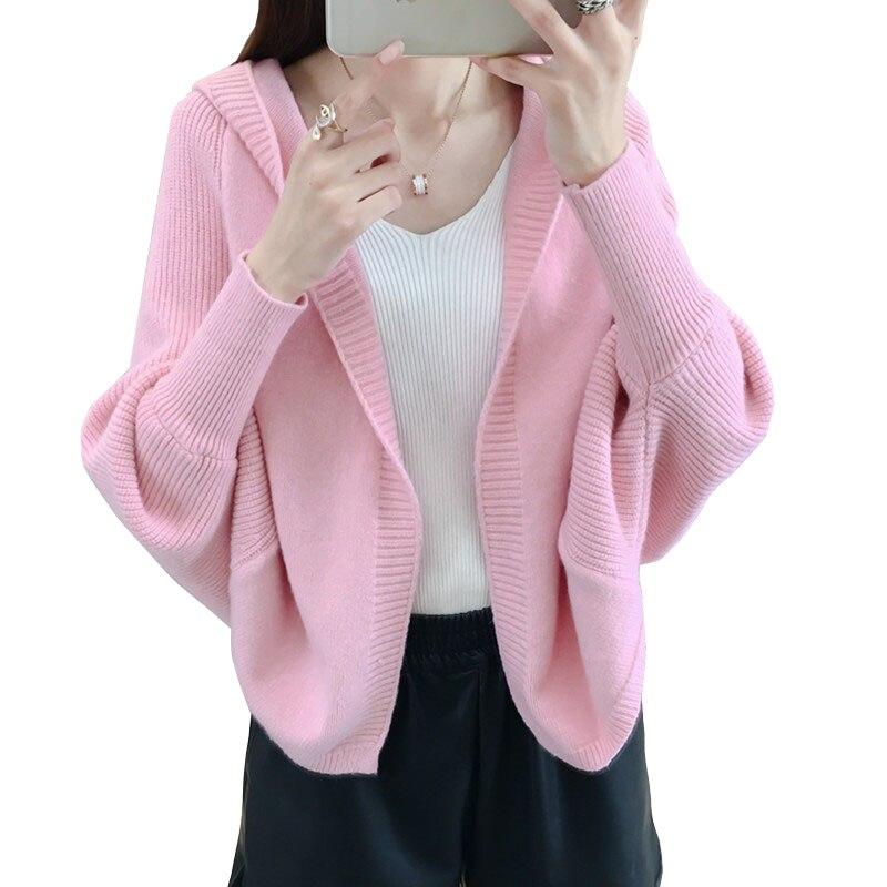 春秋のニットセーター女性カーディガンバットスリーブセーターショートトップスプラスサイズ原宿ニットピンクの女性のコート
