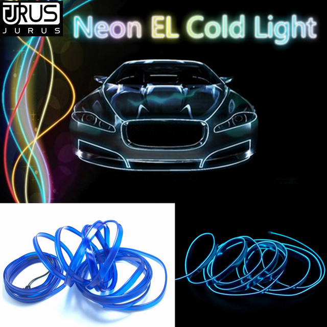 Jurus 3meters Flexible Neon Light Glow El Wire Flat Led Strip Car Interior Lights 12v Inverter
