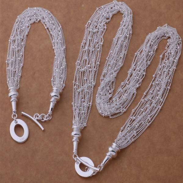 AS277 Hot 925 Joyas de plata Pulsera de los Sistemas 054 + Collar 469/akzajcga a