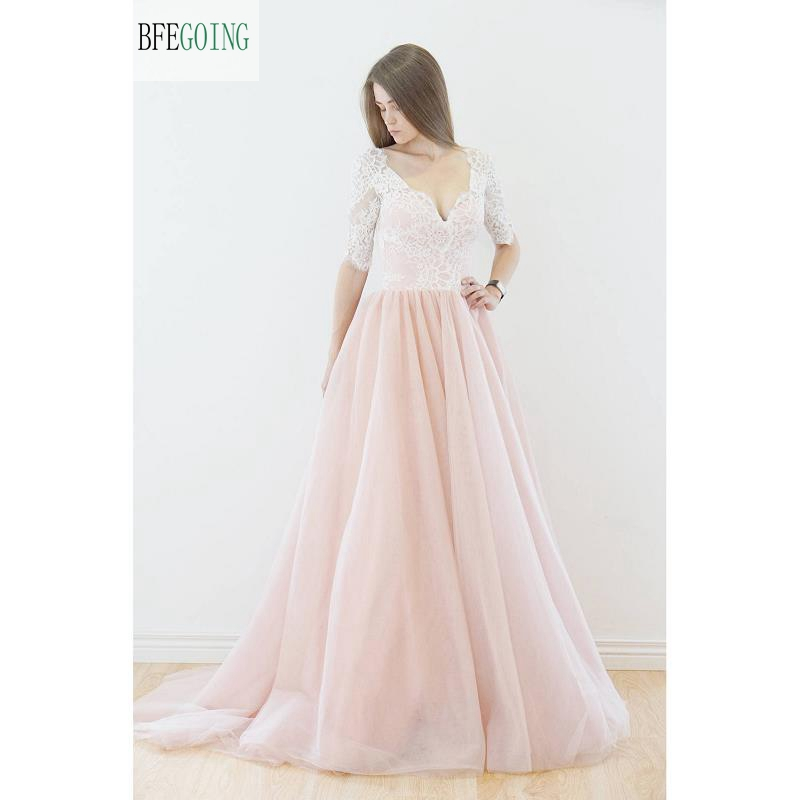 Pink Tulle Wedding Gown: Pink Tulle White Lace A Line Floor Length Wedding Dresses
