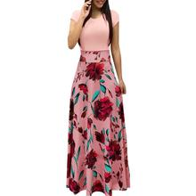 New Europe And America Style Women Floral Print Maxi Dress Fashionable Hot Sale Summer Evening Party Elegant Long