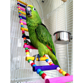 Pet Bird Parrot Wood Colorful Climbing Ladder toy Cableway Hamster Toys Rope Parrot Bites Harness Cage Parakeet Budgie Home