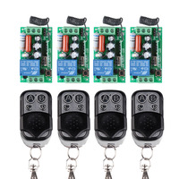 AC 220V 1CH 10A Wireless Remote Control Switch 4 Receiver 4 Transmitter Learning Code Momentary Toggle