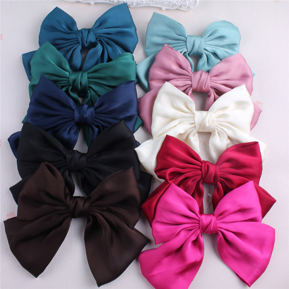 Fashion Ribbon Hairgrips Big Large Bow Hairpin For Women Girls Satin Trendy Ladies Hair Clip New Cute Barrette Hair Accessories