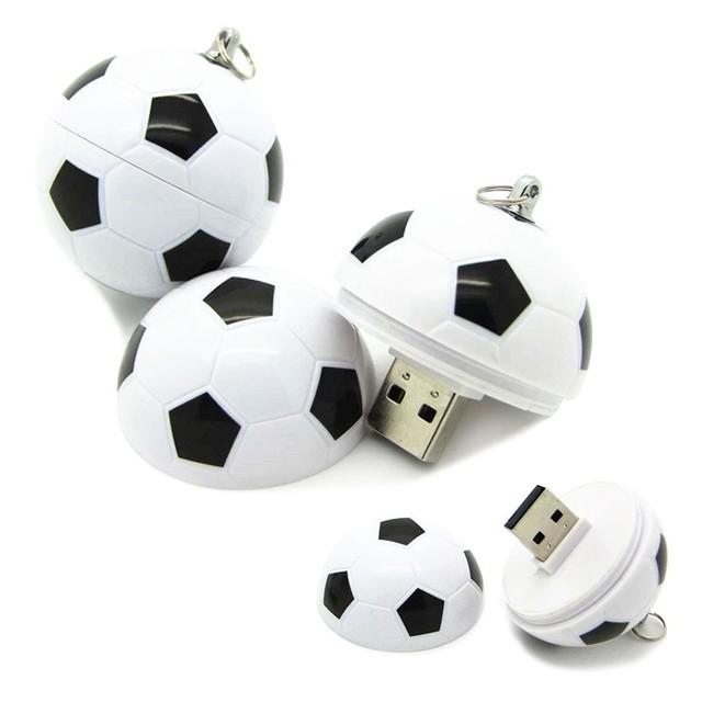 Envío libre redondo de Plástico Divertido Fútbol fútbol usb 2.0 flash drive de 16 GB 32 GB para la promoción