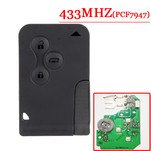 Shipping free (2pcs/Lot ) 3 Button smart card with pcf7947 433mhz for Renault Megane Laguna Smart Card Excellent Quality free shipping coil for renault megane card 10pcs lot