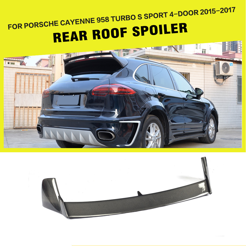 carbon fiber rear roof spoiler lip wing styling for porsche cayenne utility 4 door 2015