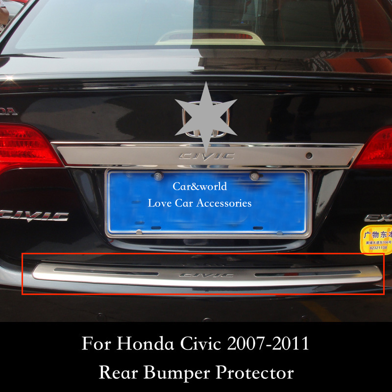 For Honda Civic Rear Bumper Protector Tailgate Trunk Guard Trim 2007 2008 2009 2010 2011 Stainless Steel Car styling Accessories front rear bumper protector sill trunk guard skid plate trim cover plate for nissan qashqai 2007 2008 2009 2010 2011 2012 2013