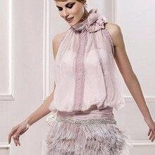 Элегантные коктейльные платья розового цвета, шифоновые платья с бретелькой на шее, украшено перьями, Элегантные короткие платья для выпускного вечера