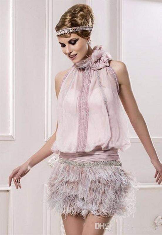 Cocktailkleider Trendmarkierung Rosa 2019 Elegante Cocktail Kleider Mantel Halterchiffon Feder Perlen Elegante Kurze Heimkehr Kleider Online Rabatt